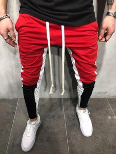 83dec7f6558c Men Slim Fit Casual Tricolor Sweatpants Joggers - Red 3708