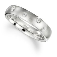 Platinum Bubble Ring with Diamonds