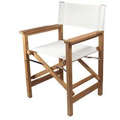 Teak Director's Chair, White