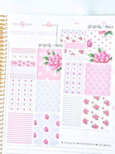Floral Themed Sticker Squares for Erin Condren