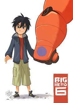 Baymax holding Hiro's hand. Well this is just too cute.
