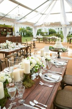 """greens and candles down the dark wood table """"Beautiful Waterfront Maryland Wedding - chic wedding reception. Mod Wedding, Chic Wedding, Wedding Table, Perfect Wedding, Wedding Styles, Rustic Wedding, Dream Wedding, Wedding Ideas, Elegant Wedding"""