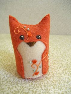 Marigold One of a Kind embroidered Fox Plush