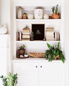 Ready, set, GO. : @paintedplanks #WriterOak open shelving in white living room boho decorating indoor plants
