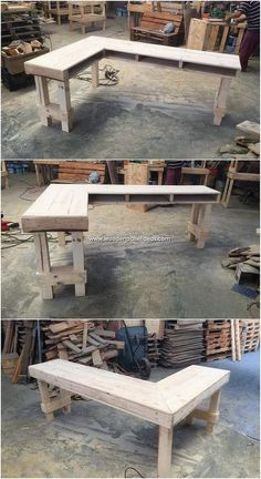 Here comes the ideal use of the L shaped desk furniture through the pallet finis. Pallet Desk, Diy Pallet Furniture, Diy Pallet Projects, Retro Furniture, Wood Projects, Furniture Stores, Luxury Furniture, Garden Furniture, Pallet Patio
