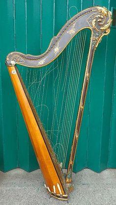 Antique single action pedal harp