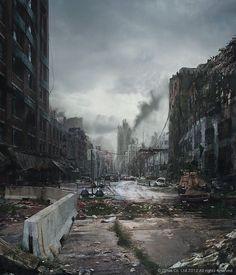 The design of this image communicates war and abandon by Cartel Artists Apocalypse World, Apocalypse Art, Apocalypse Landscape, Science Fiction, Fantasy Places, Fantasy World, Post Apocalyptic City, Apocalypse Aesthetic, Cyberpunk