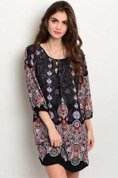 Feeling a little Bohemian? This Feeling Bohemian Black Print Shift Dress has decades of fashion influence and will have you feeling dreamy bohemian all Spring and Summer long. This dress features bell
