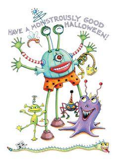 Mary Engelbreit Fun Halloween Monsters 5x7 Folded Card