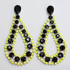 neon & black earrings
