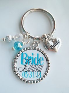 Custom Personalized Bride Wedding Date Name bezel pendant Keychain charm,  shower gift present tag beautiful stylish bridal party gifts