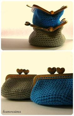 Crochet purses with kiss lock ...  Where do I find an awesome clasp like this?  I would like another one of these for laundry quarters so I can use my first one for ear buds.