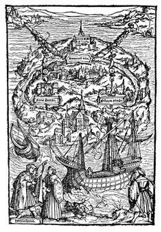 14. Utopia mbrosius Holbein hid a skull within the overall design of his woodcut map of Sir Thomas More's Utopia. In this scheme, Utopia is in the mind, and we get there through the mouth (the ship).
