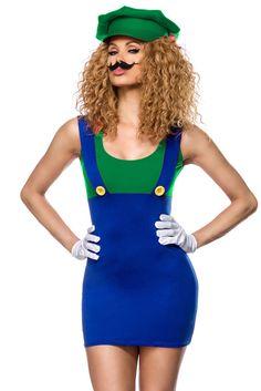 4 Tlg.Luigi Kostüm Damen Mädchen SuperMario Kostüm  Karneval Fasching Gr. XS- M