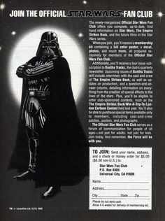 Magazine ad for the Star Wars fan club.