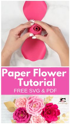 Learn How to Create Stunning Oversized Paper Flowers from Cardstock Using FREE SVG Files. Cut them by hand or with a Smart Cutting Machine. Ill teach you everything from creating a flower center to making a sturdy base to hang the flowers from. Paper Flower Patterns, Paper Flowers Craft, Large Paper Flowers, Paper Flower Wall, Paper Flower Tutorial, Paper Flower Backdrop, Flower Wall Decor, Paper Roses, Flower Crafts