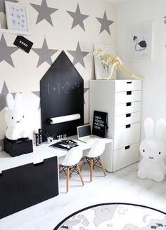Black and white kid's room | Miffy lamp and OYOY The World rug are all available at www.istome.co.uk