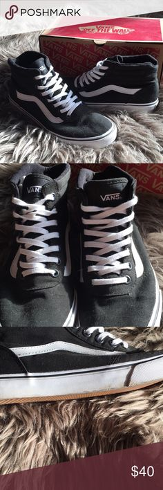 VANS Milton canvas black and white hi tops VANS black and white hi tops. worn ONCE, soles are pristine save for one small scuff mark. Vans Shoes Sneakers