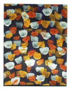 """Tulips at Night"" Original Acrylic Oil Dantes Nferno Abstract Medium Paper #Abstract"