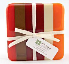 fused glass coasters. red orange fire orange cream by niknaksglass