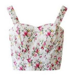 Crop Top Floral Bustier Cropped Feminino Women'S Tanks Top Fitness Strappy Bra Plaid Tank Top Camis Short Vest Size One Size Color A Cute Crop Tops, Floral Crop Tops, Tank Tops, Floral Bustier, Short Tops, Sexy, Cropped Cami, Cycling Shorts, Polyester Spandex