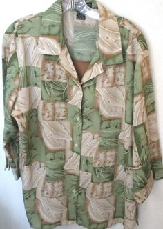 Womens 1X Elements Blouse Top with Attached Tan Tank 3/4 Sleeves Green Ivory Tan #Elements #Blouse #Casual