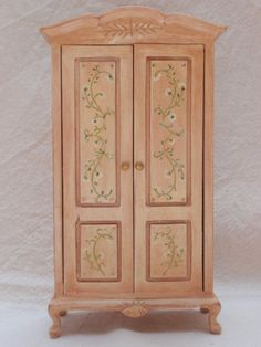 Handpainted wardrobe in cream and light brick by miniaturesforever, $45.00