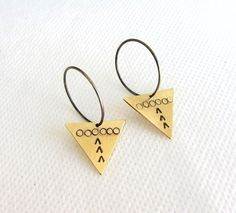 Oxidized Sterling silver hoop earrings with stamped by lunahoo, $25.00