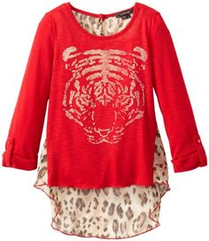 Sweaters  My Michelle Big Girls' Sweater with Foil Screen and Studs, Red Haute, Medium Get Rabate