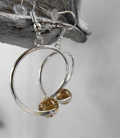 Boucles oreille spirale perle polaris doré paillette / mariage / fête / anniversaire : Boucles d'oreille par perlaperles