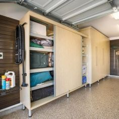 Exceptional On Another Side Of The Garage Is A Large Sized Rectangular Maple Melamine  Cabinet With Full Sliding Doors Allowing For Easy Access To Belongings  Whenever ...