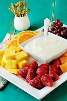 cream cheese & marshmallow fruit dip. so yummy
