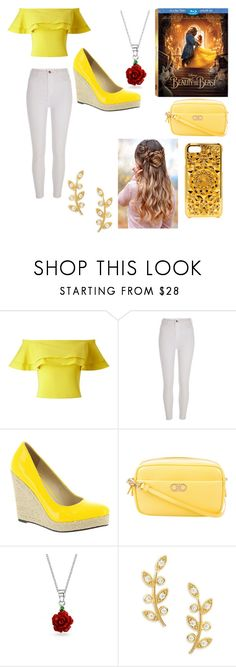 """""""Beauty and the Beast- Belle"""" by gavanloud ❤ liked on Polyvore featuring Disney, Miss Selfridge, River Island, Michael Antonio, Salvatore Ferragamo, Bling Jewelry, Tai, Felony Case, BeautyandtheBeast and contestentry"""