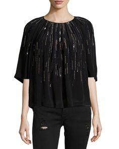 Barley Sequin-Embellished Top, Black, Women's, Size: 40 DE (10 US) - IRO