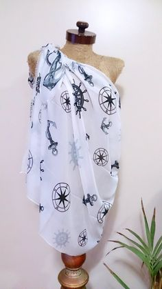 Sealife beach cover up anchor print beach sarong bikini cover up by AtlasScarf on Etsy