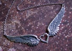 Angel Wing Necklace Two DETAILED Wing by RevelleRoseJewelry, $29.00