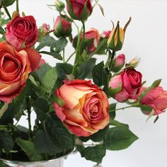 G Home Collection Luxury Silk 8 Rose Bloom Stem in Orange Red 38 Tall (b-three stems) Silk Roses, Silk Flowers, Red Roses, Rose Stem, Diy Wedding Bouquet, Blooming Rose, Green Landscape, Artificial Flowers, Hibiscus