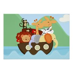 Noah's Ark Baby Nursery Poster  #nursery #noahs ark #animals  Click on photo to purchase. Check out all current coupon offers and save! http://www.zazzle.com/coupons?rf=238785193994622463&tc=pin