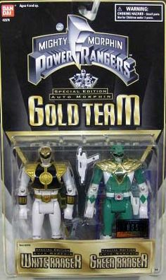 """Mighty Morphin Power Rangers - Special Edition Auto Morphin Gold Team 5"""" White & Green http://www.ebay.ca/usr/collectiblesbycandb"""