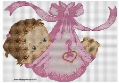 by on deviantART bebita punto de cruz - Baby Girl Cross Stitch Pattern Baby Cross Stitch Patterns, Cross Stitch For Kids, Cross Stitch Baby, Cross Stitch Charts, Cross Stitch Designs, Baby Patterns, Cross Stitching, Cross Stitch Embroidery, Embroidery Patterns
