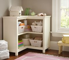Corner Bookcase with Baskets from Pottery Barn Kids