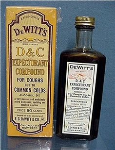 De Witt's D & C Expectorant Compound old pharmacy and drugstore item, unopened condition, used for the treatment of coughs with directions for use on the bottle label. Made by E. C. De Witt Co. Chicago & New York. c. 1920.