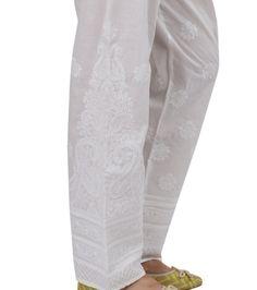 White chikankari hand  embroidered palazzo by Indiankala4u on Etsy