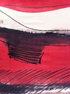 Dionne Swift : Red Landscape Scarf (a) Unique hand painted, fine wool scarf 195 x 45 cm - mark making detail