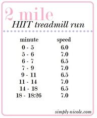 2 mile treadmill run. I can increase these speeds to help me decrease my 5k time.