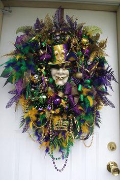 Mardi Gras wreath, You pick the mask, custom order , many styles, door wreath, handmade wreath, Fleur De Lis,  Carnival, New Orleans,