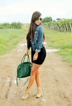 Black dress & denim