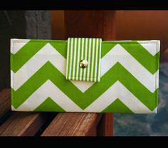 chevron wallet green and white stripes by AlexMLynch on Etsy, $46.00