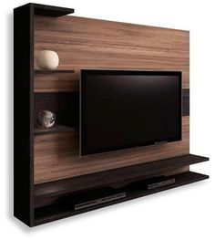 For those who love black n that natural wood touch Tv Cabinet Design, Tv Unit Design, Tv Wall Design, Tv Wall Panel, Lcd Units, Modern Tv Wall Units, Muebles Living, Tv Wall Decor, Tv Furniture