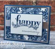 Happy Friday! Today I have an anniversary card in Dapper Denim, one of my favorite Stampin' Up! blues. Heartfelt Blooms is a really beautiful stamp set. I love it in blue! The sentiment is from the Sale-a-Bration Happy Wishes stamp set. So pretty! And finally, I love silver and blue together, I think it adds …